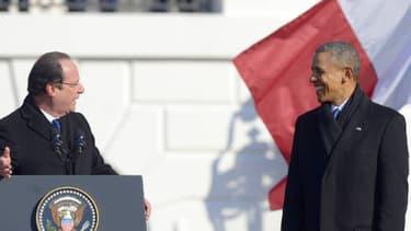 François Hollande et Barack Obama devant la Maison blanche, mardi.