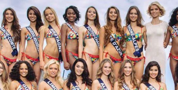 Sylvie Tellier entourée des 30 candidates au titre de Miss France 2017