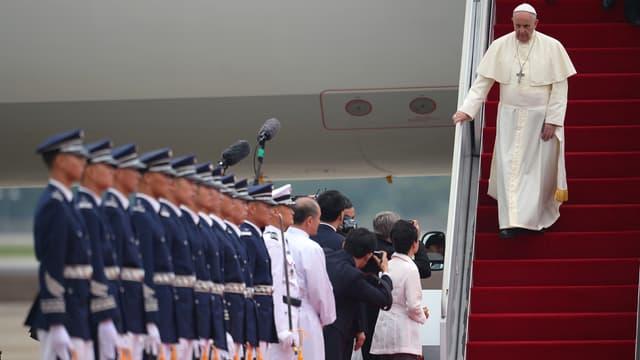 Le pape François arrive à Séoul, en Corée du Sud, le 14 août 2014.