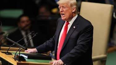 Donald Trump à la tribune de l'Assemblée générale des Nations unies, le 25 septembre 2018. - Spencer Platt - Gatty - AFP