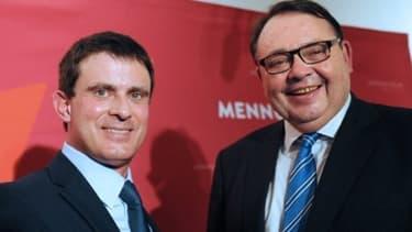 Manuel Valls en compagnie de Patrick Mennucci, lors d'un déplacement du ministre de l'Intérieur à Marseille.