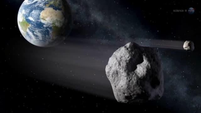 Vue d'artiste d'un astéroïde géocroiseur.