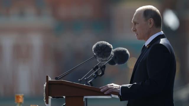 Vladimir Poutine lors de son discours sur la Place Rouge, le 9 mai 2015