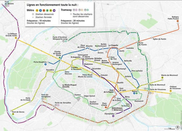 Ces lignes de métro et de tramway seront ouvertes samedi toute la nuit.