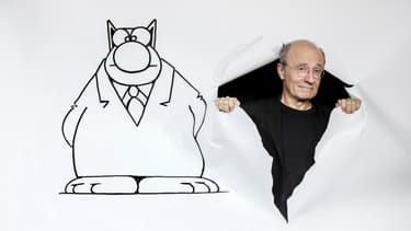 """Philippe Geluck et son """"Chat"""", en septembre 2017 à Paris"""