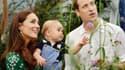 La duchesse et le duc de Cambridge avec leur fils, à Londres, pour le premier anniversaire du prince héritier, le 27 juillet 2014.
