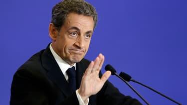 Nicolas Sarkozy lors d'un discours sur les départementales au QG de l'UMP, le 7 mars 2015.