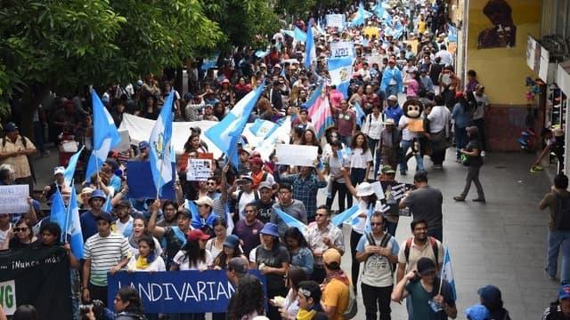 Des manifestants à Guatemala.