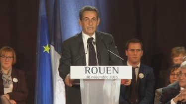 Nicolas Sarkozy, en meeting à Rouen, lundi soir.