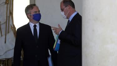 Le secrétaire d'État chargé du Tourisme, Jean-Baptiste Lemoyne, avec le Premier ministre Jean Castex, le 29 juillet 2020