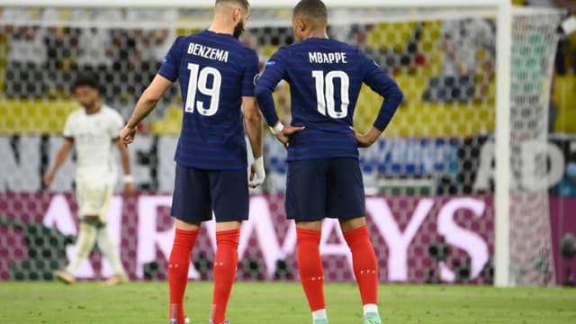 Karim Benzema et Kylian Mbappé pendant le match France-Allemagne de l'Euro le 15 juin 2021 à Munich