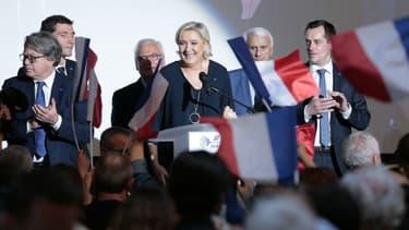 Marine Le Pen au Palais des congrès d'Ajaccio pendant la campagne présidentielle, le 8 avril 2017 à Ajaccio (Corse).