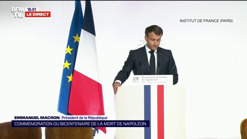 """Emmanuel Macron ne veut """"rien céder à ceux qui entendent effacer le passé au motif qu'il ne correspond pas à l'idée qu'ils se font du présent"""""""
