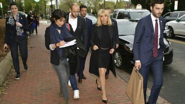 Brigitte Macron, mercredi, en marge de la visite d'Etat à Washington.