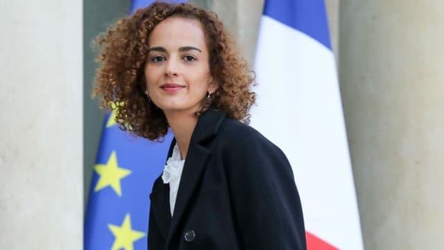 Leila Slimani dans la cour de l'Elysée, le 6 novembre 2017