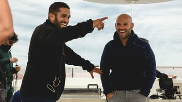 Malik Bentalha et Franck Gastambide sur le tournage de Taxi 5