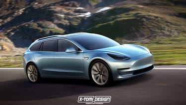 """La toute nouvelle Model 3 se voit décliner en break """"Sportwagon"""". Bonne idée ou sacrilège? A vous de juger."""