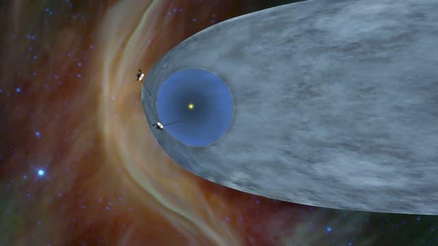 Une illustration montrant la localisation de Voyager 1 et Voyager 2 à la frontière du système solaire, en décembre 2018