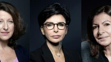 Montage de trois candidates à la mairie de Paris: Anne Hidalgo (d) le 11 février 2020, Rachida Dati (c) le 25 novembre 2019 et Agnès Buzyn le 26 février 2020