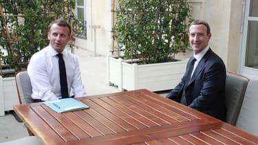 Emmanuel Macron et Mark Zuckerberg à l'Élysée ce mercredi.