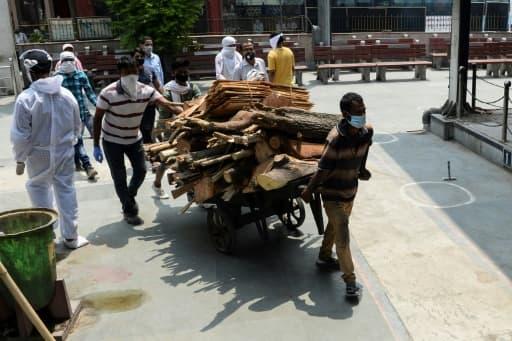 Des employés apportent du bois pour alimenter les bûchers où s'effectue la crémation de victimes du coronavirus, le 3 juin 2020 au Nigambodh Ghat à New Delhi