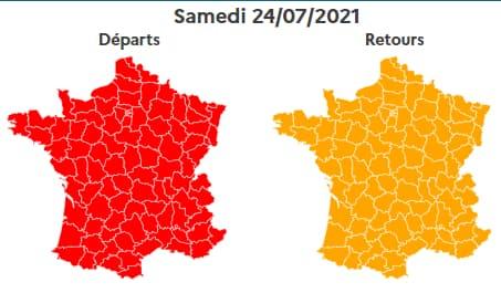 Le 24 juillet sera classé rouge dans le sens des départs, orange dans le sens des retours.