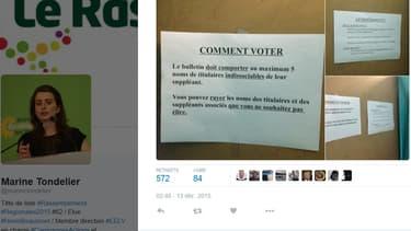 """Les """"consignes"""" affichées dans un bureau de vote d'Hénin-Beaumont"""