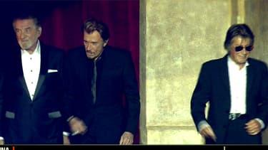 Eddy Mitchell, Johnny Hallyday et Jacques Dutronc, réunis pour la première fois sur la scène de Bercy, le 5 novembre 2014.