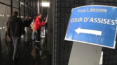 L'entrée de la salle d'audience où se tient le procès Tony Meilhon, vendredi dernier à Nantes.