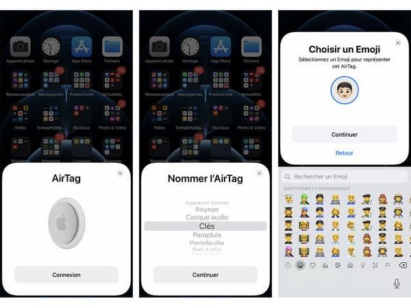 Interface de configuration des AirTags d'Apple