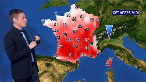 Les températures de ce samedi après-midi.