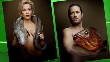 Gillian Anderson (l'actrice interprétant Scully dans X-Files) et Thomas Dutronc posent avec un poisson pour luttre contre la surpêche et lapêche dans les eaux profondes.