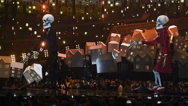 Katy Perry sur la scène des Brit Awards, le 22 février 2017.