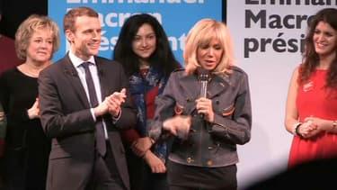 Brigitte Macron a rejoint son mari sur scène