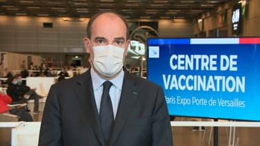 Jean Castex s'est exprimé depuis le vaccinodrome de la porte de Versailles, à Paris, samedi 15 mai 2021