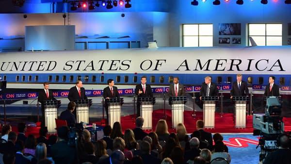 Les candidats républicains sur le plateau du débat, mercredi 16 septembre.
