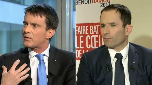 Manuel Valls et Benoît Hamon mardi sur BFMTV.