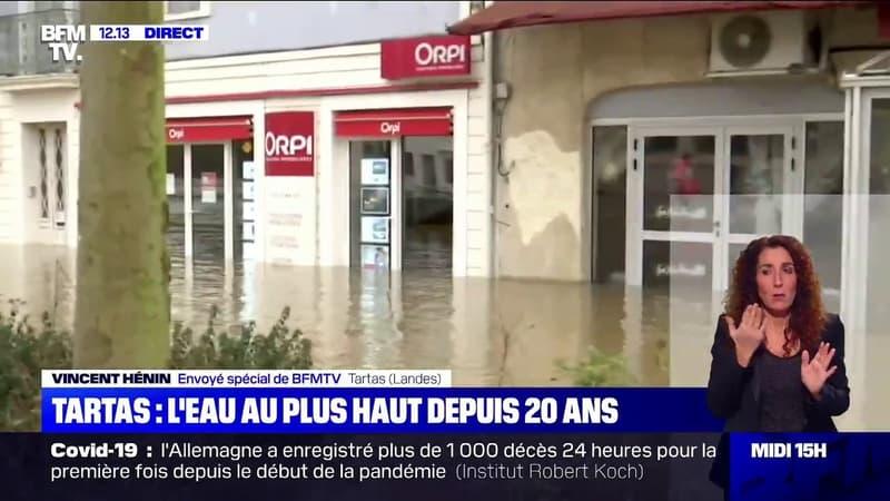 Crues dans les Landes: l'eau au plus haut depuis 20 ans à Tartas