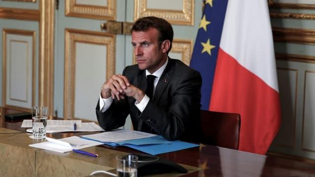 Le président Emmanuel Macron à l'Elysée, le 18 mai 2020 à Paris