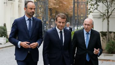 Edouard Philippe, Emmanuel Macron et Gérard Collomb le 6 septembre 2017 au ministère de l'Intérieur.