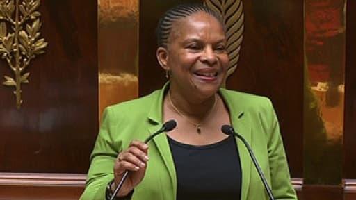 La ministre de la Justice Christiane Taubira lors de son discours sur le mariage homo, le 29 janvier 2013, à l'Assemblée nationale..