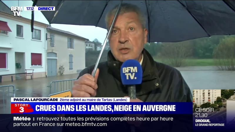 """Landes: à Tartas, le pic des crues """"à 3,40m"""" attendu """"d'ici deux jours"""""""