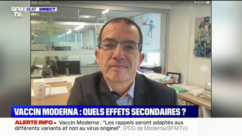 """Thromboses: Il n'y a """"heureusement à ce jour aucun effet comme celui-là"""" avec le vaccin Moderna, selon le patron du laboratoire"""