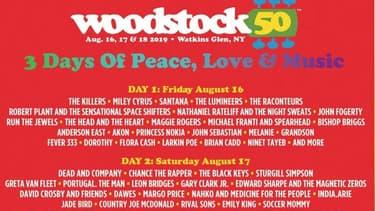 La programmation de Woodstock 50