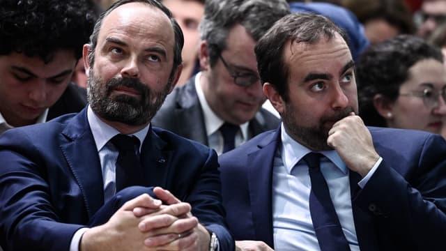 Le Premier ministre Édouard Philippe et Sébastien Lecornu, ministre en charge des Collectivités territoriales, le 8 avril 2019 à Paris