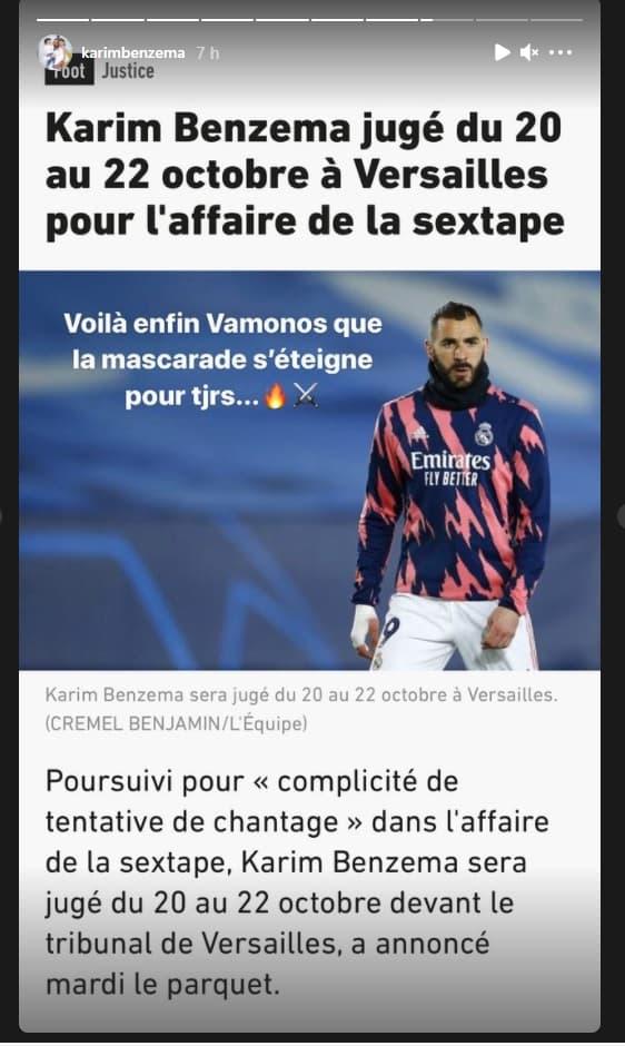 La réaction de Karim Benzema sur Instagram à l'annonce des dates du procès de l'affaire de la sextape