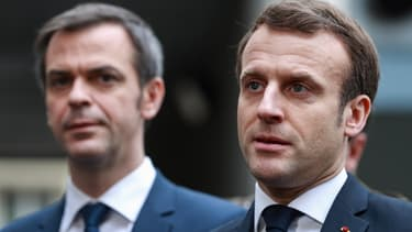 Olivier Véran et Emmanuel Macron, le 10 mars 2020