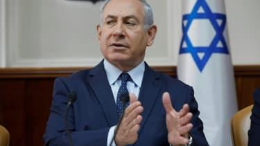 Le Premier ministre israélien Benjamin Netanyahu le 7 janvier 2018, lors du Conseil des ministres hebdomadaire à Jérusalem