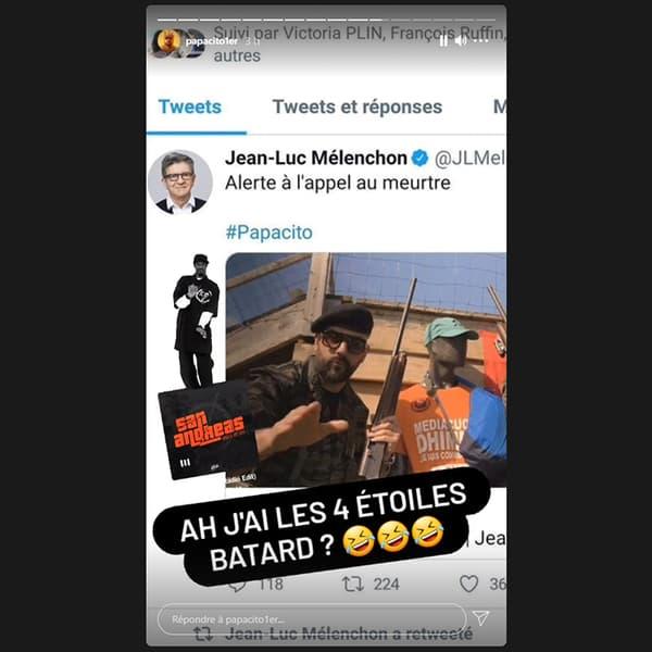Capture d'écran du compte Instagram de Papacito