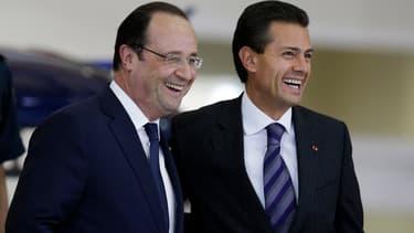 François Hollande et le président mexicain Enrique Pena Nieto à Mexico le 11 avril 2014.